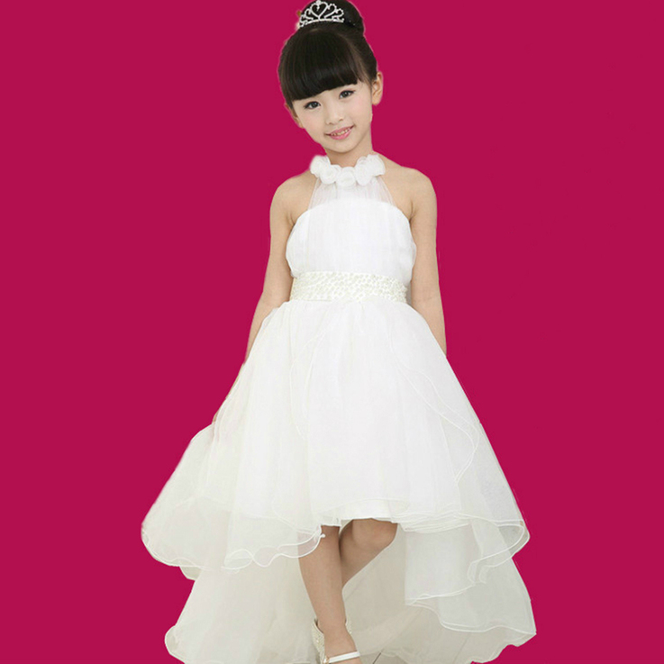 Girls white flower bridesmaid party wedding faux pearl for Kids wedding dresses online