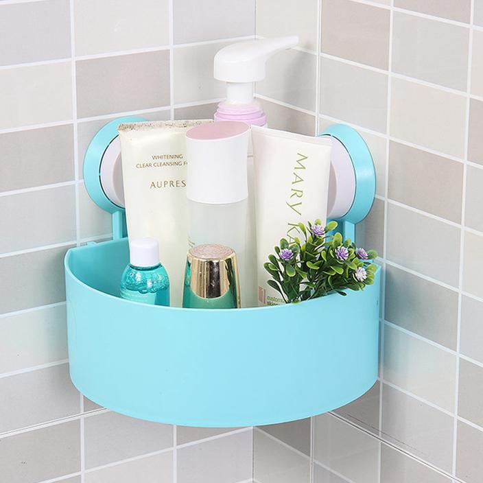 plastic bathroom corner storage rack organizer shower shelf suction
