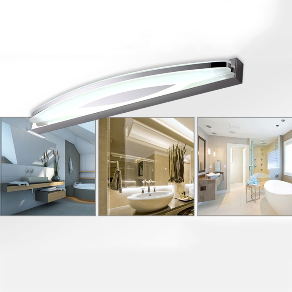 Bathroom Vanity Light Acrylic Led Mirror Front Light Make Up Wall Lamp Fixtures: LED Light Bathroom Bedroom Cabinet Arc-shaped Light Mirror Front Lamp OE