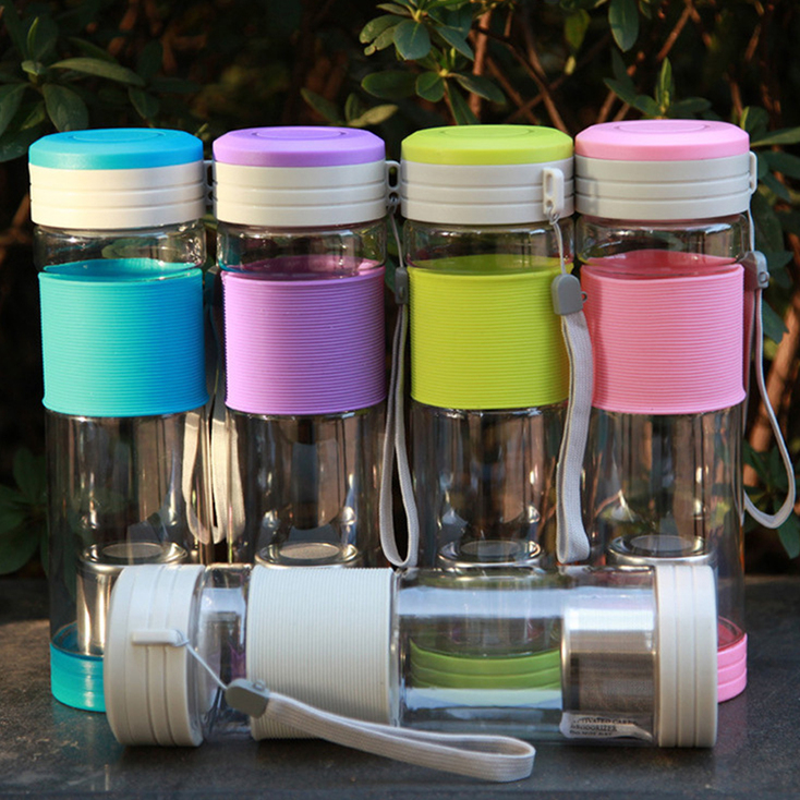 Portable Travel Sport Tea Water Seal Bottle with Filter Strainer 550ml OE