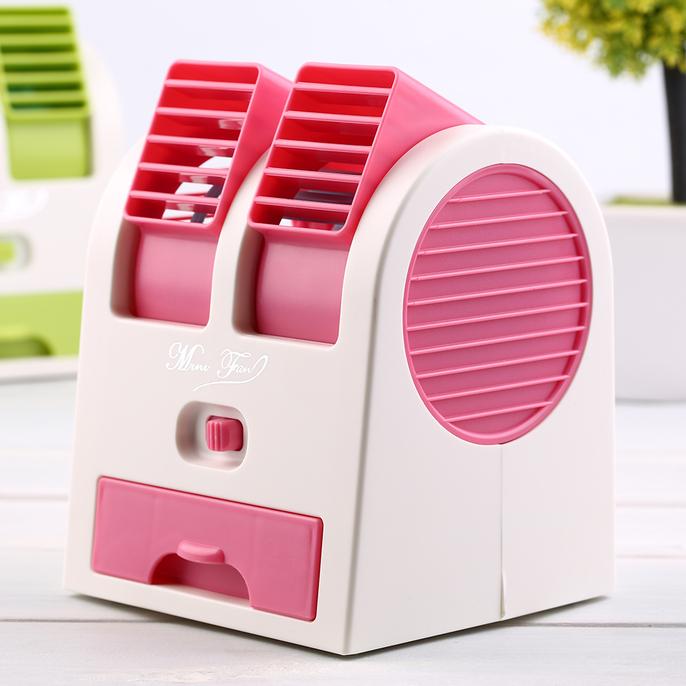 Mini Air Conditioner Portable Desktop Dual Bladeless USB Battery Cool Fan SM | eBay