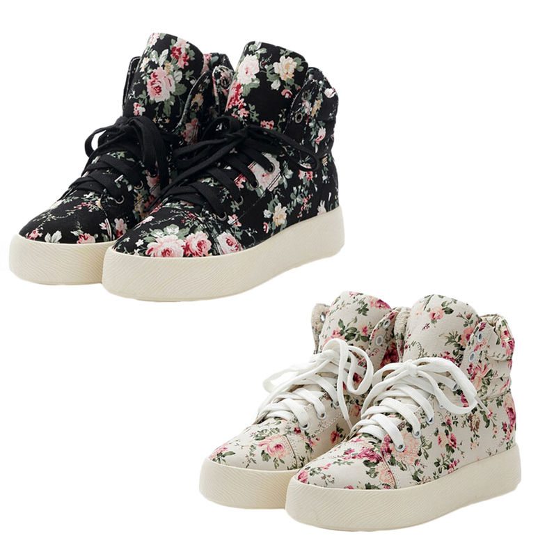 floral canvas shoes vintage lace up flower print