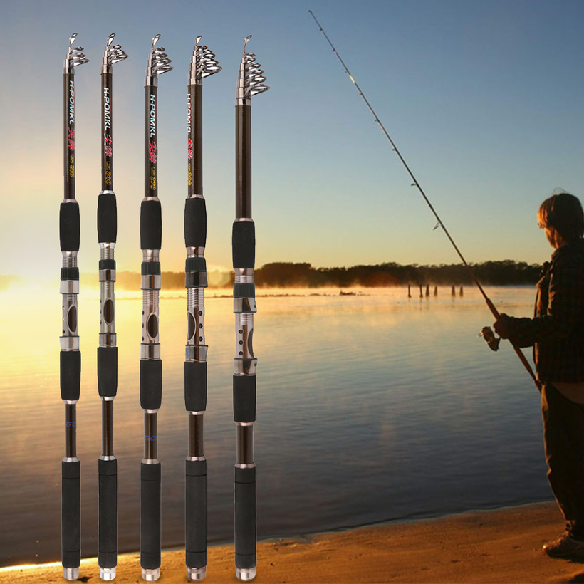 telescopic fishing rod sea spinning carp fishing pole superhard, Fishing Reels
