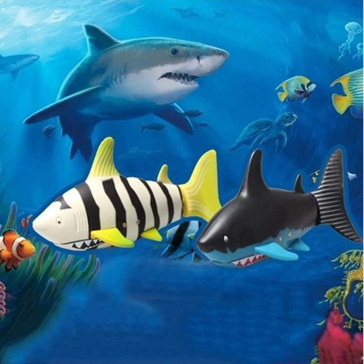 Remote control mini shark fish kids water game toy plastic for Shark fishing games