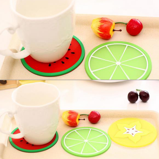Fruit Silicone Cup Coaster Anti-Slip Mat Insulation Pad Creative Coaster OP