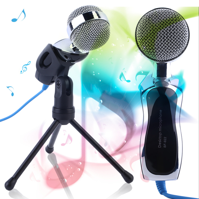 professional desktop microphone with stand for pc laptop recording singing pa ebay. Black Bedroom Furniture Sets. Home Design Ideas