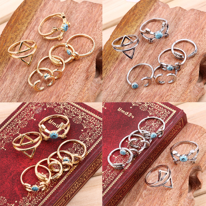 Boho Ethnic Gypsy Mexico Moon Sun Turquoise Jewelry Rings Retro Rings Pack #O