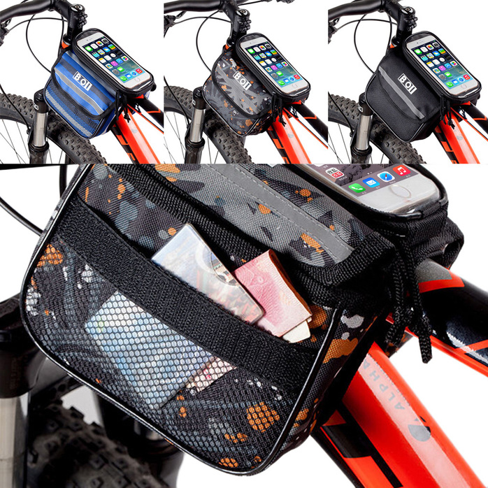 Bike Front Frame Bag Bicycle Cell Phone Top Tube Case Pannier Screen Waterproof