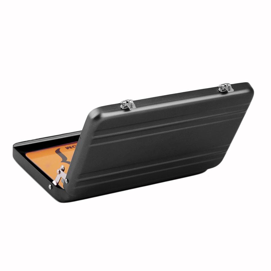 Cool aluminum password briefcase business card credit card for Briefcase business card holder