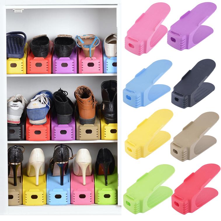 1 pc display rack shoes organizer space saving plastic storage rack fg ebay - Shoe rack for small space set ...