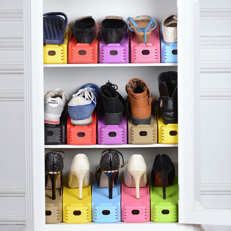 1 pc display rack shoes organizer space saving plastic storage rack fg ebay - Shoe storage small space pict ...