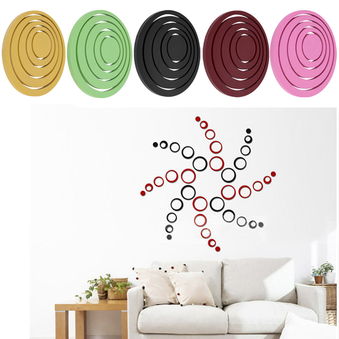 Hot Circles Stickers 5 Rings 3D Wall Art Decals Home Decor