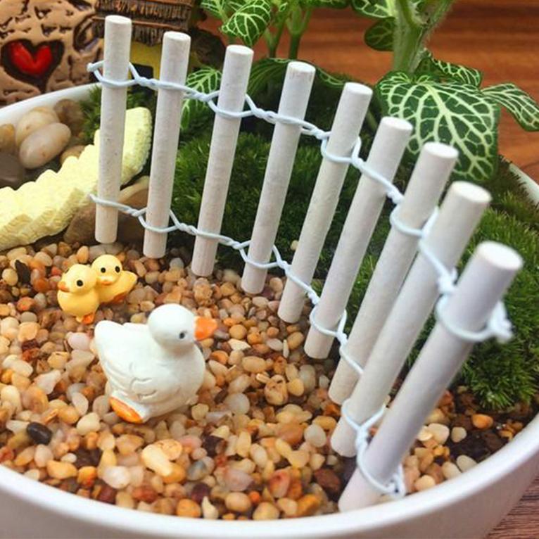 Mini Wood Fence DIY Fairy Garden Dollhouse Plant Pot Decor