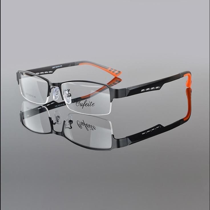 Metal Marco Semi-sin montura gafas Hombres Gafas Rectangular Lente ...