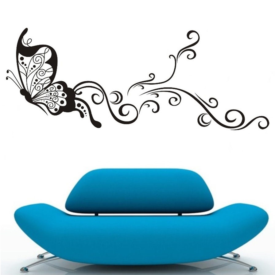 Large butterfly wall stickers decal removable art vinyl for Butterfly wall mural stickers