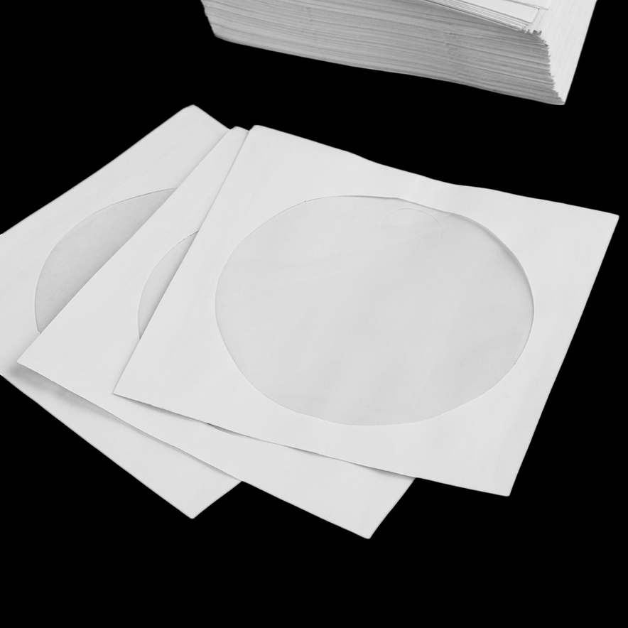 100 cd sleeves dvd cd r paper sleeve with window flap