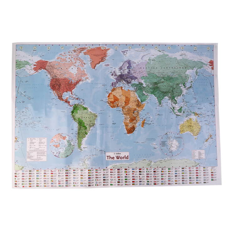 New 97 5 X 67 5 Large World Map English French Wall Chart Teaching Poster KG