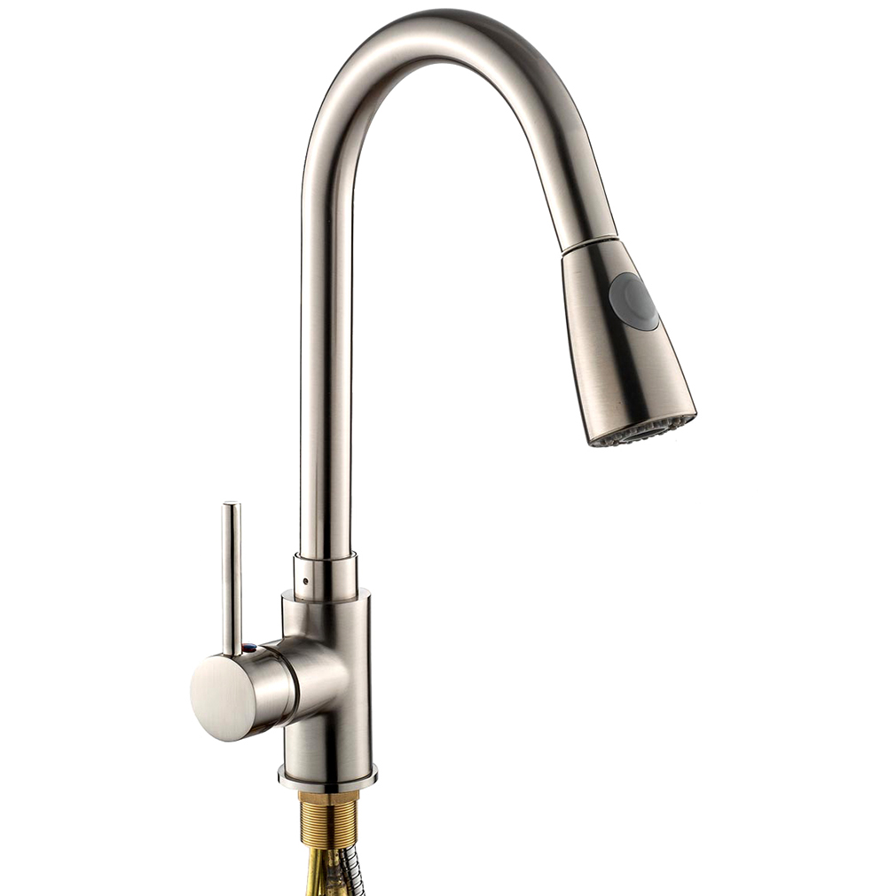 """USA 16"""" Kitchen Sink Faucet Brushed Chrome Pull-Out Spray"""