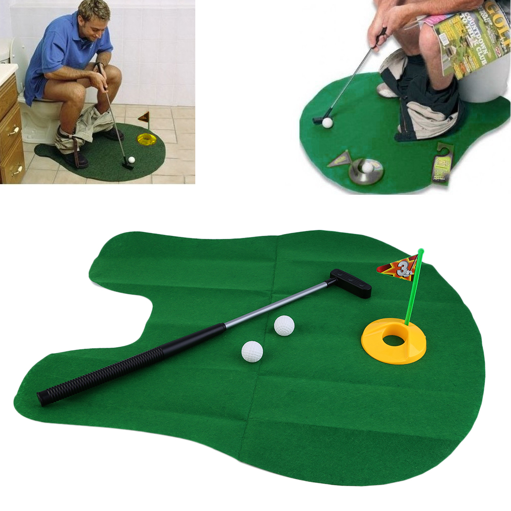 Funny Potty Putter Toilet Time Mini Golf Game Novelty Gag Gift Toy Mat GA