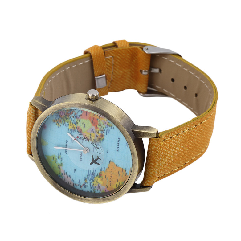 Vintage mini world map design alloy analog quartz leather wrist unisex wristwatch world map quartz watch denim fabric leather band multi color b ebay gumiabroncs